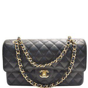 Chanel Double Flap Medium Cc Caviar Black